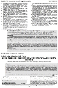Basic research regarding siliconic materials in dental medicine