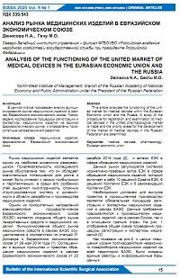 Анализ рынка медицинских изделий в Евразийском экономическом союзе