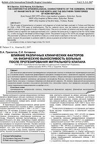 Влияние различных клинических факторов на физическую выносливость больных после протезирования митрального клапана