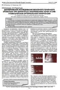 Доплеровское исследование венозного почечного кровотока при диффузных заболеваниях почек и симптоматической артериальной гипертензии