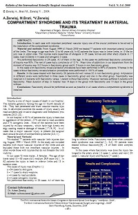 Compartment syndrome and its treatment in arterial trauma