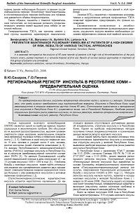 Региональный регистр инсульта в республике коми -предварительная оценка